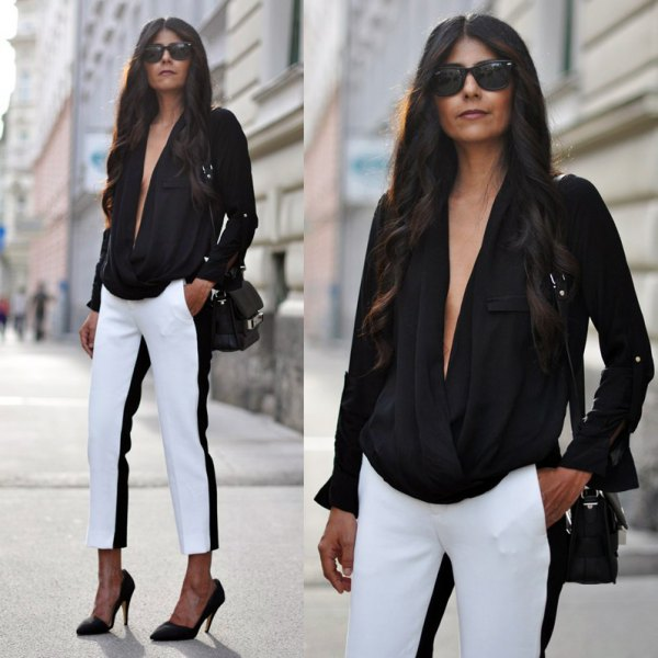 black deep v-neck dress pants
