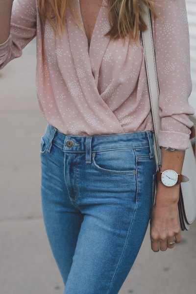 pale pink polka dot top mom jeans