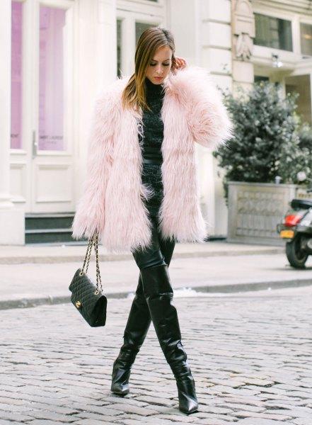 pink coat all black clothes