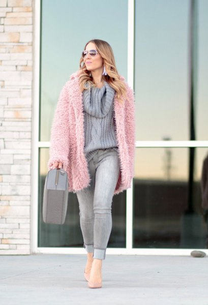 pink faux fur jacket gray cowl neck knitted sweater
