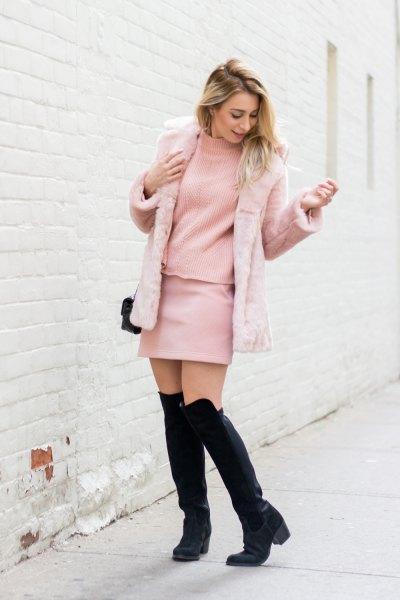 pink faux fur jacket blush mock neck sweater
