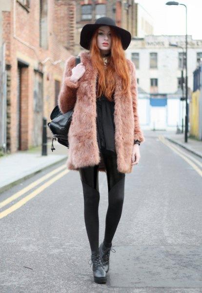 black blouse felt hat outfit