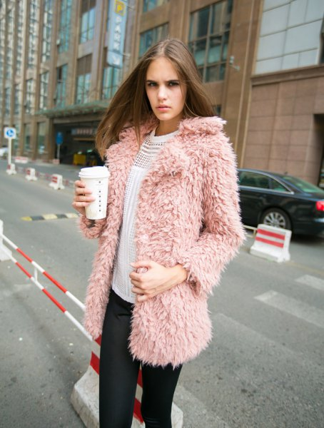 pink faux fur jacket white ribbed sweater