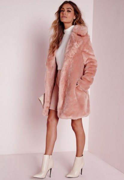 long pink faux fur jacket white mock neck sweater