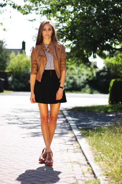 short brown leather jacket black high-altitude mini skater skirt