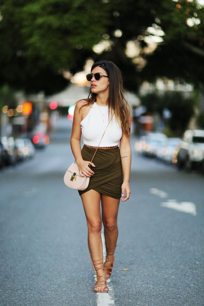dark green shirt gladiator sandals
