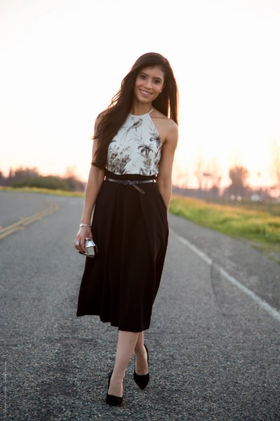 white floral halter top high waist black midi pleated skirt
