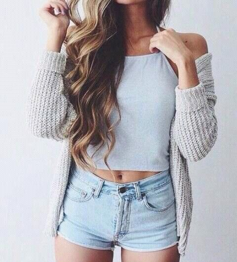 white crop top light gray knitted cardigan