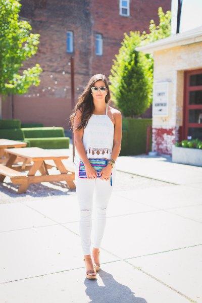 taffeta halter top white skinny jeans