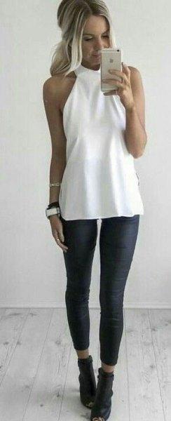 white halter top black leggings