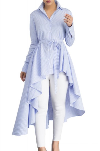 light blue belt button up the peplum top