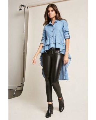 blue multilayered peplum high shirt with low shirt