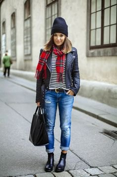black and white striped tee checkered scarf