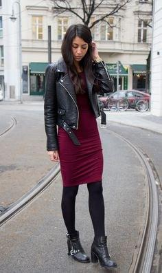 black jacket burgundy bodycon knee length dress