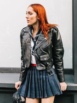 biker jacket navy blue pleated skirt