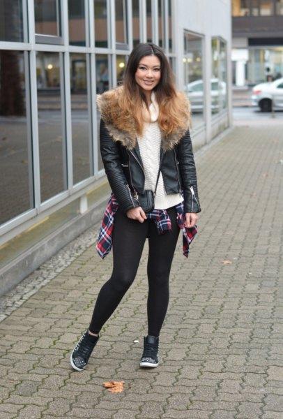 black biker jacket brown faux fur collar