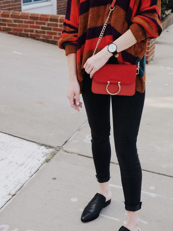 burnt orange sweater red details