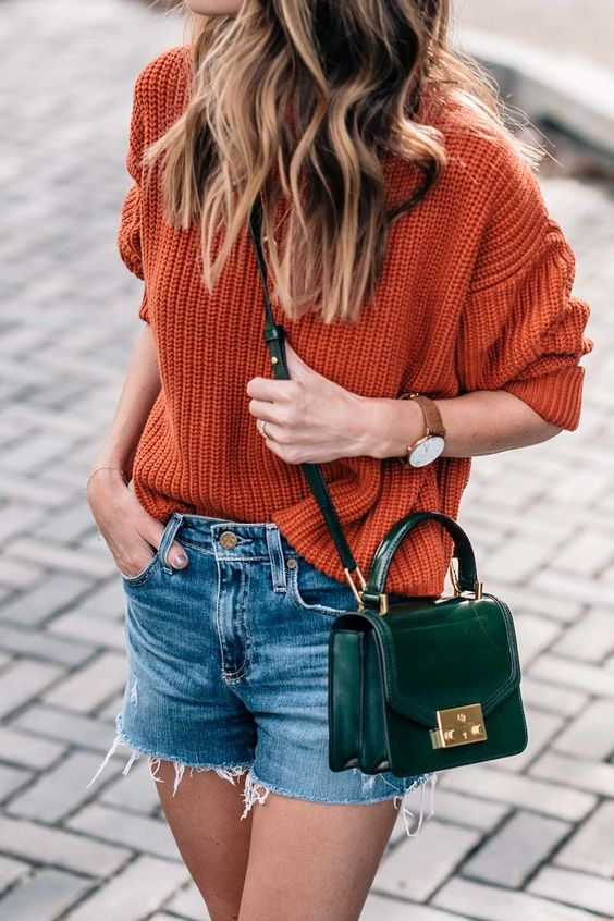 burnt orange sweater green bag