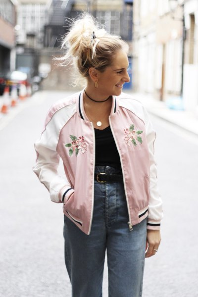 pink embroidered bomber jacket with high waist