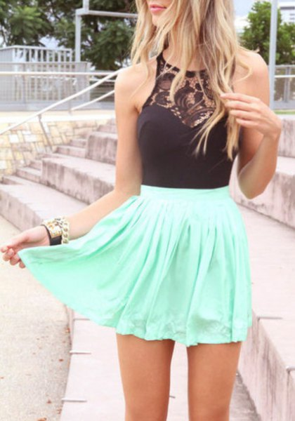black halter top lace detail white skater skirt