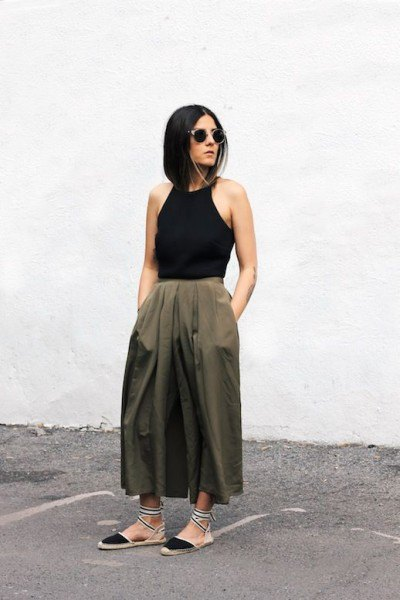 black hatler top olive maxi flare skirt