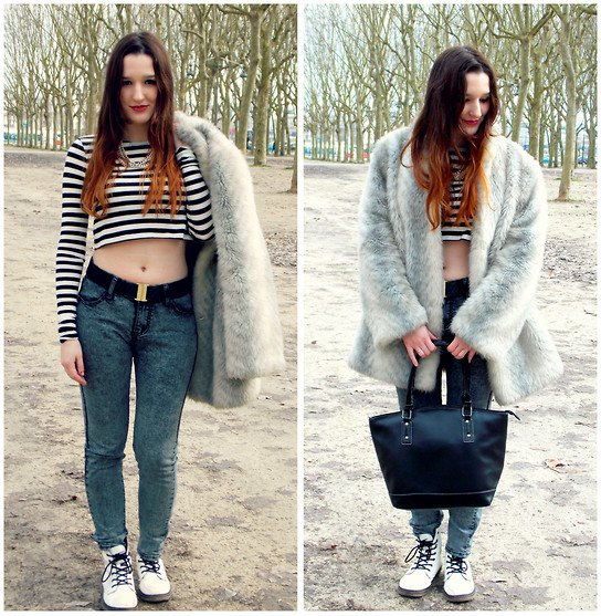 black and white striped cropped tee
