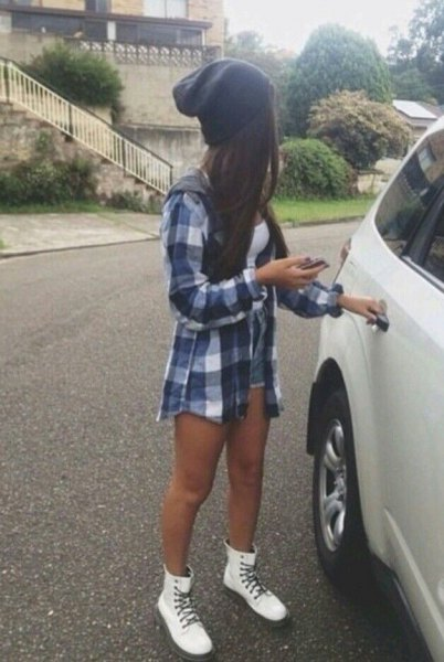 white combat boots checkered boyfriend shirt