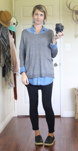 black leggings chambray sweater boat neck sweater