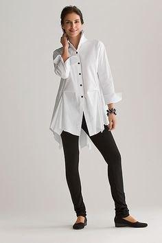 white oversized button up shirt black leggings