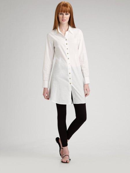long white chiffon shirt black leggings