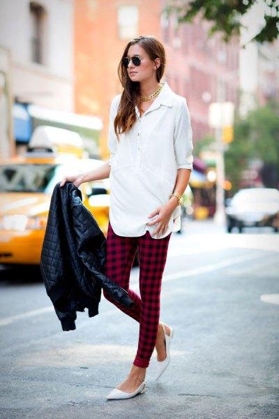 white half-warm shirt black and red plaid leggings