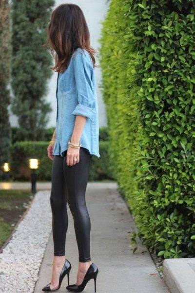 chambray long shirt black leather pants