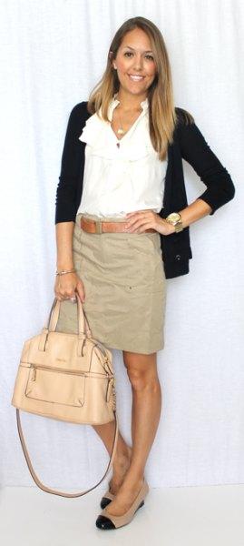 beige khaki skirt white blouse cardigan