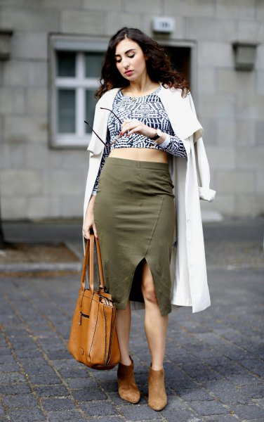 black and white printed crop top olive khaki midi skirt