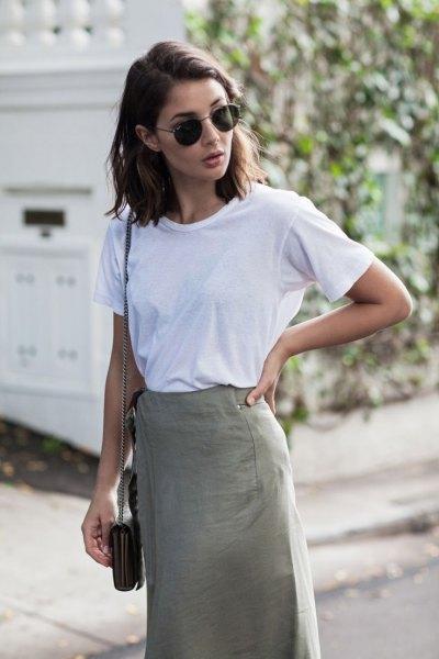 white t-shirt khaki midi pencil skirt