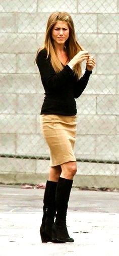 black knit sweater khaki knee length skirt