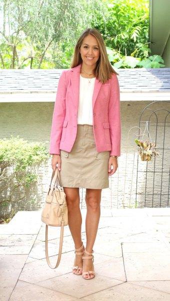 bow skirt pink blazer