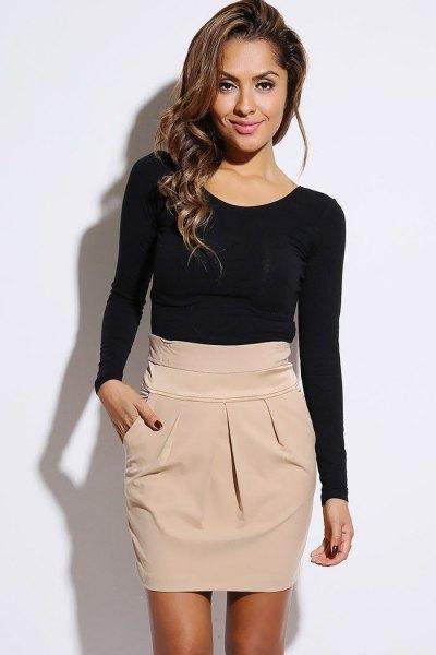 blue skinny fit sweater beige high waist mini skirt