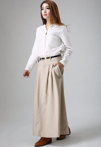 white button up shirt beige maxi khaki skirt