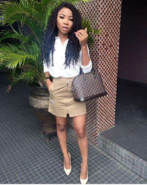 beige bodycon mini skirt white blouse