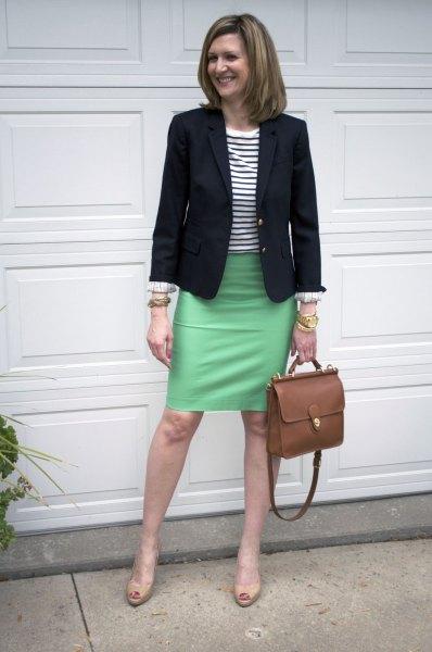 striped tee black blazer outfit
