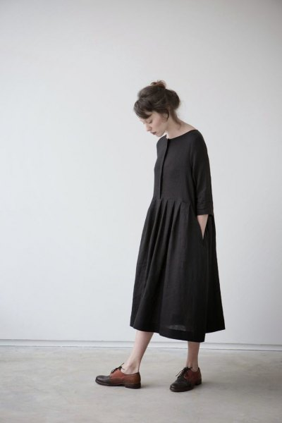 black midi swing dress brown oxford shoes