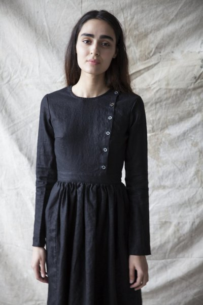 black button front linen windy dress