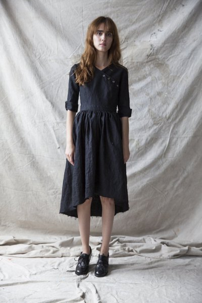 black midi dress with high linen