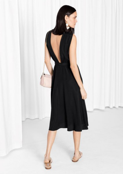 black low-cut flare dress