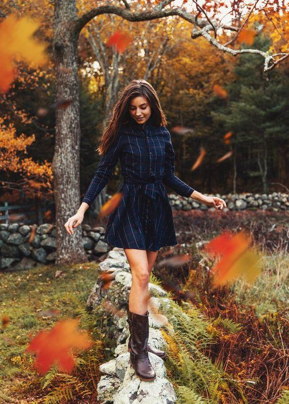 flannel dress autumn colors