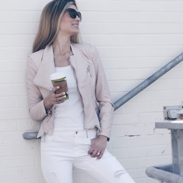 pink leather moto jacket all white outfit