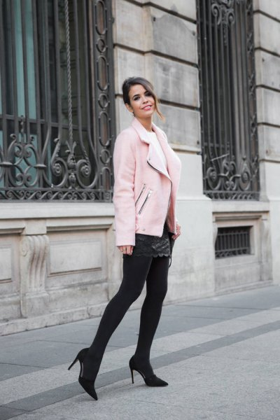 pink moto jacket black quilted leather dress