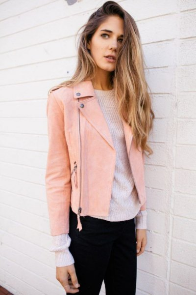 pink leather jacket white sweater with knit neck