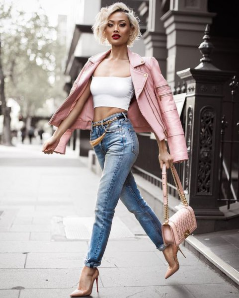 white crop top pink moto jacket